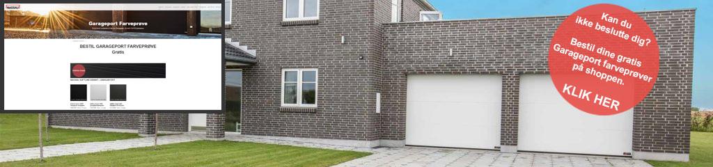 Internt farveprøve Link billede gråt hus hvide garageporte