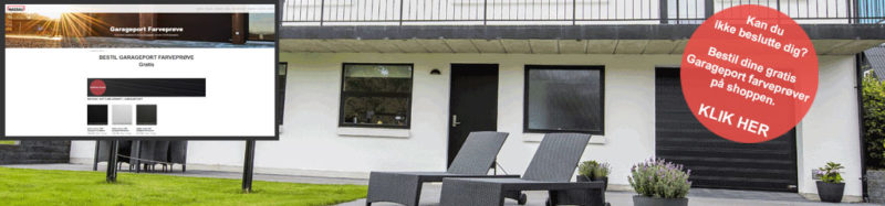Internt farveprøve Link billede hvidt hus sorte garageporte