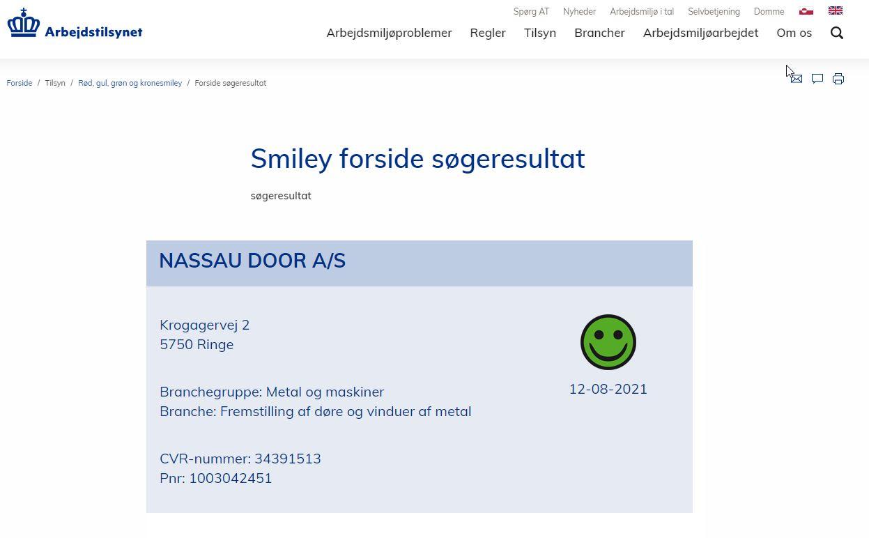 Nyheder om NASSAU porte smiley arbejdstilsynet